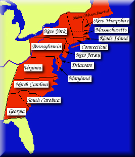 British Empire: The Map Room: North America: The Thirteen Colonies