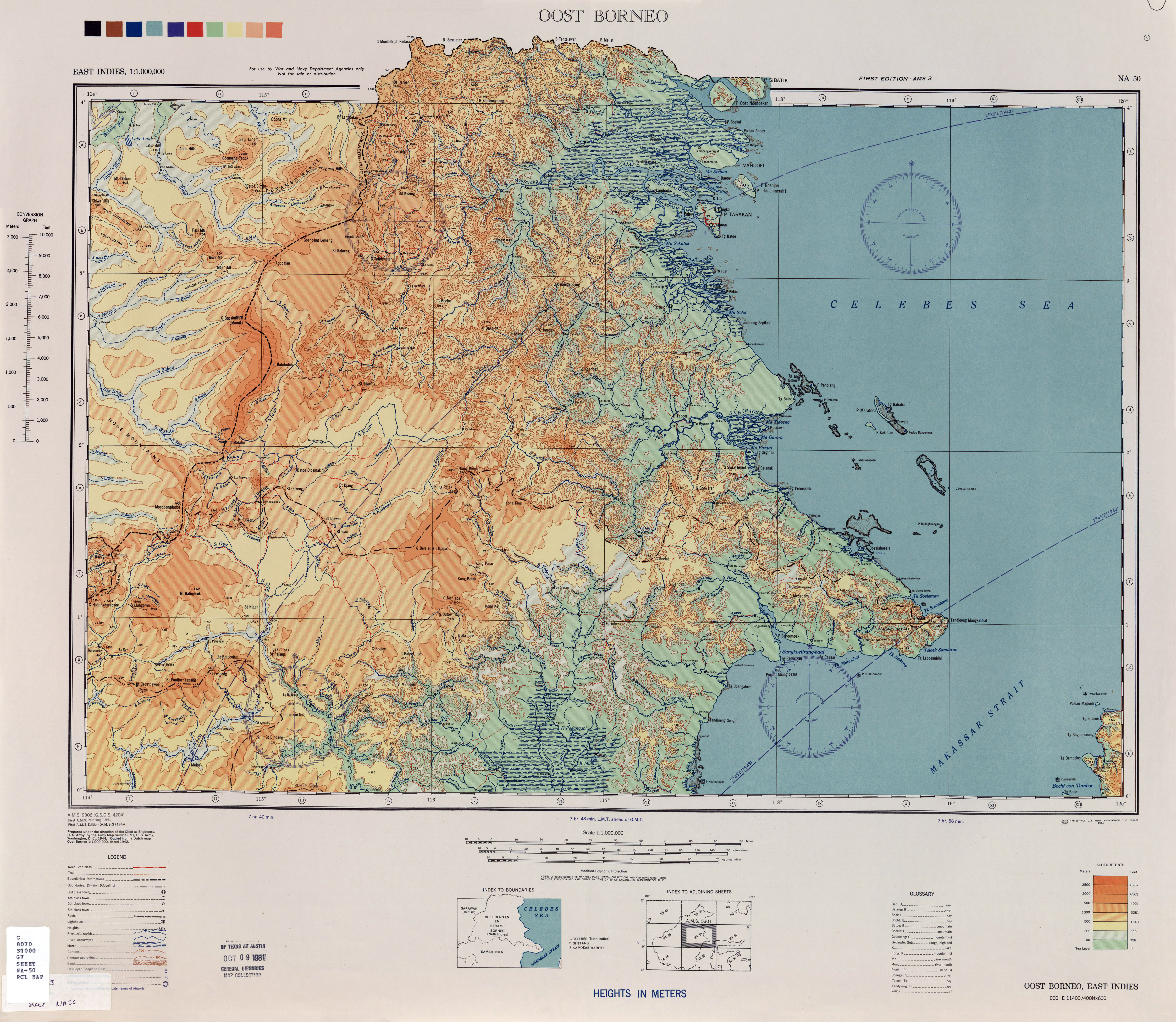 1944 Map Of South East Sarawak