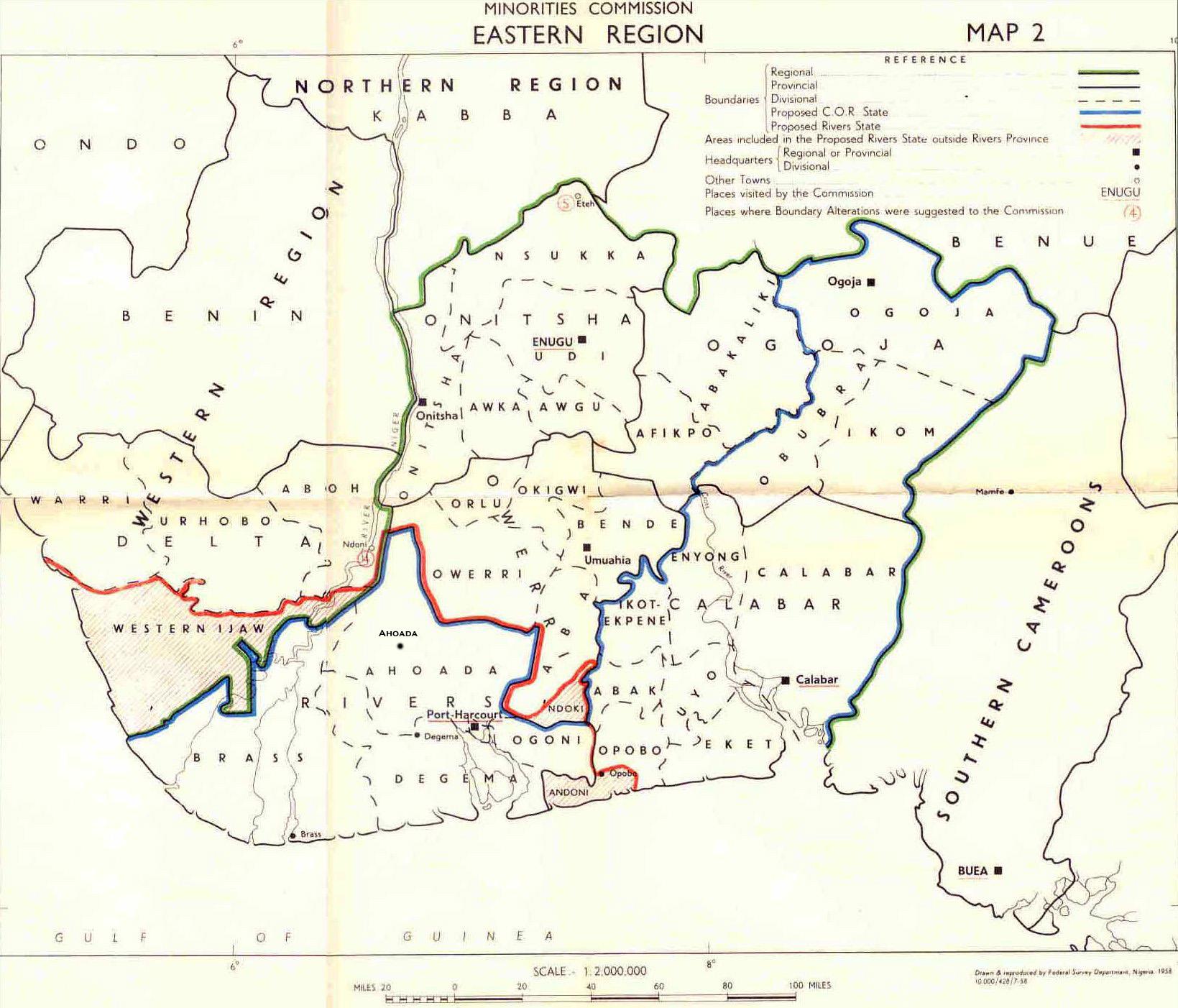 Nigeria colony map of eastern nigeria 1958 ccuart Choice Image