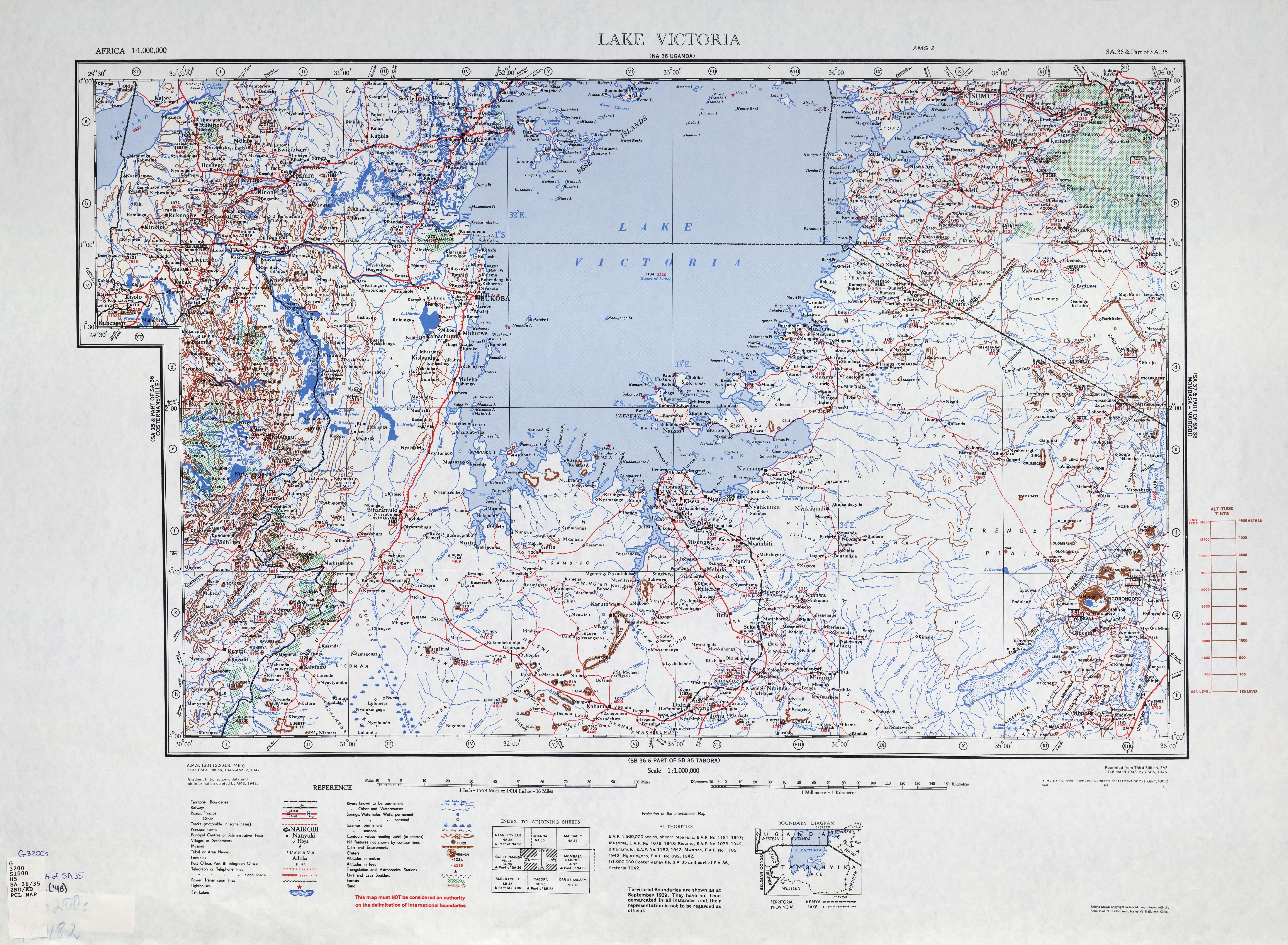 Map of Northern Tanganyika and Lake Victoria, 1948