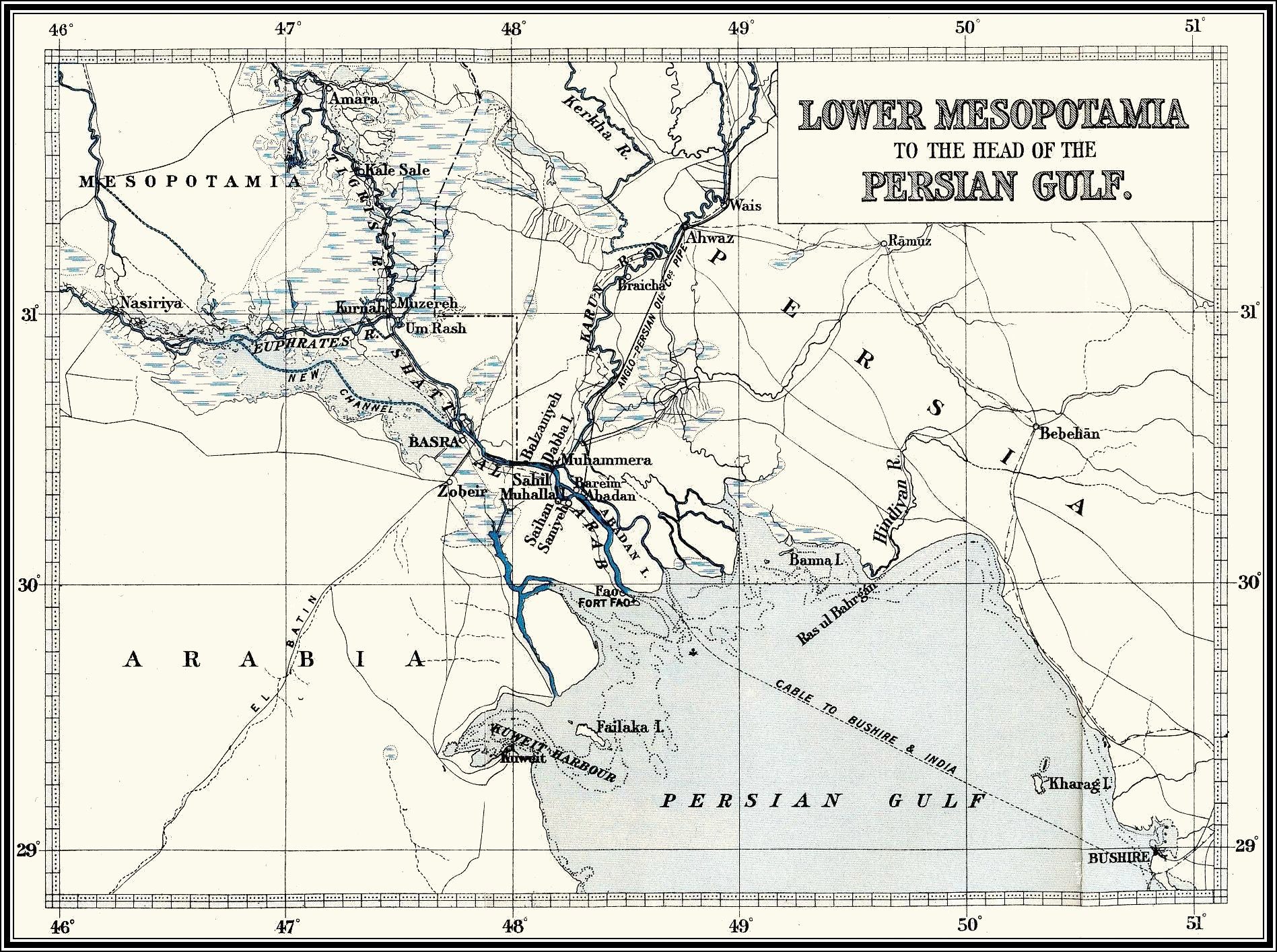 Iraq mandate 1897 royal navy map of mesopotamia showing cable to bushire world war one gumiabroncs Choice Image