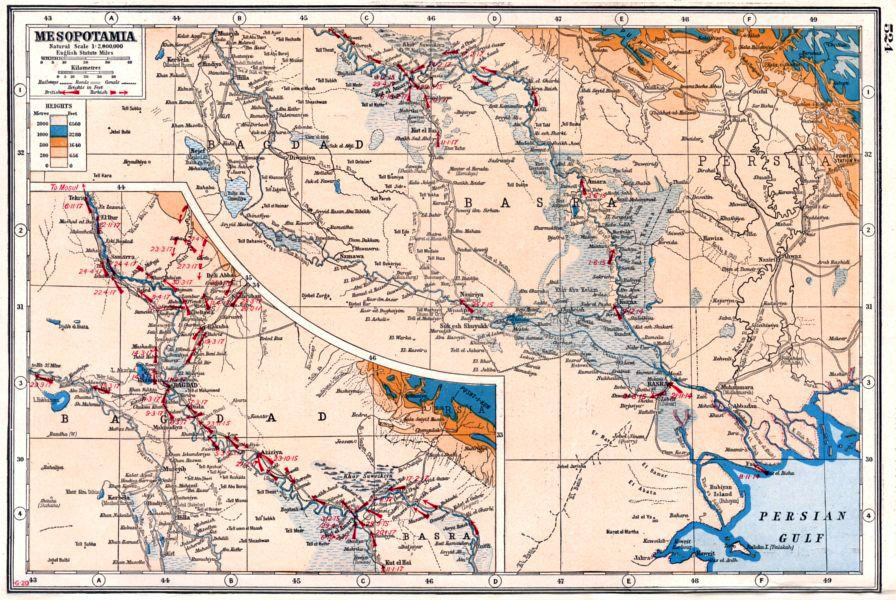 world war one map of mesopotamia