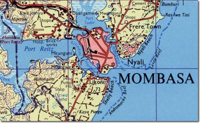 Map Of Mombasa Town Mombasa Map