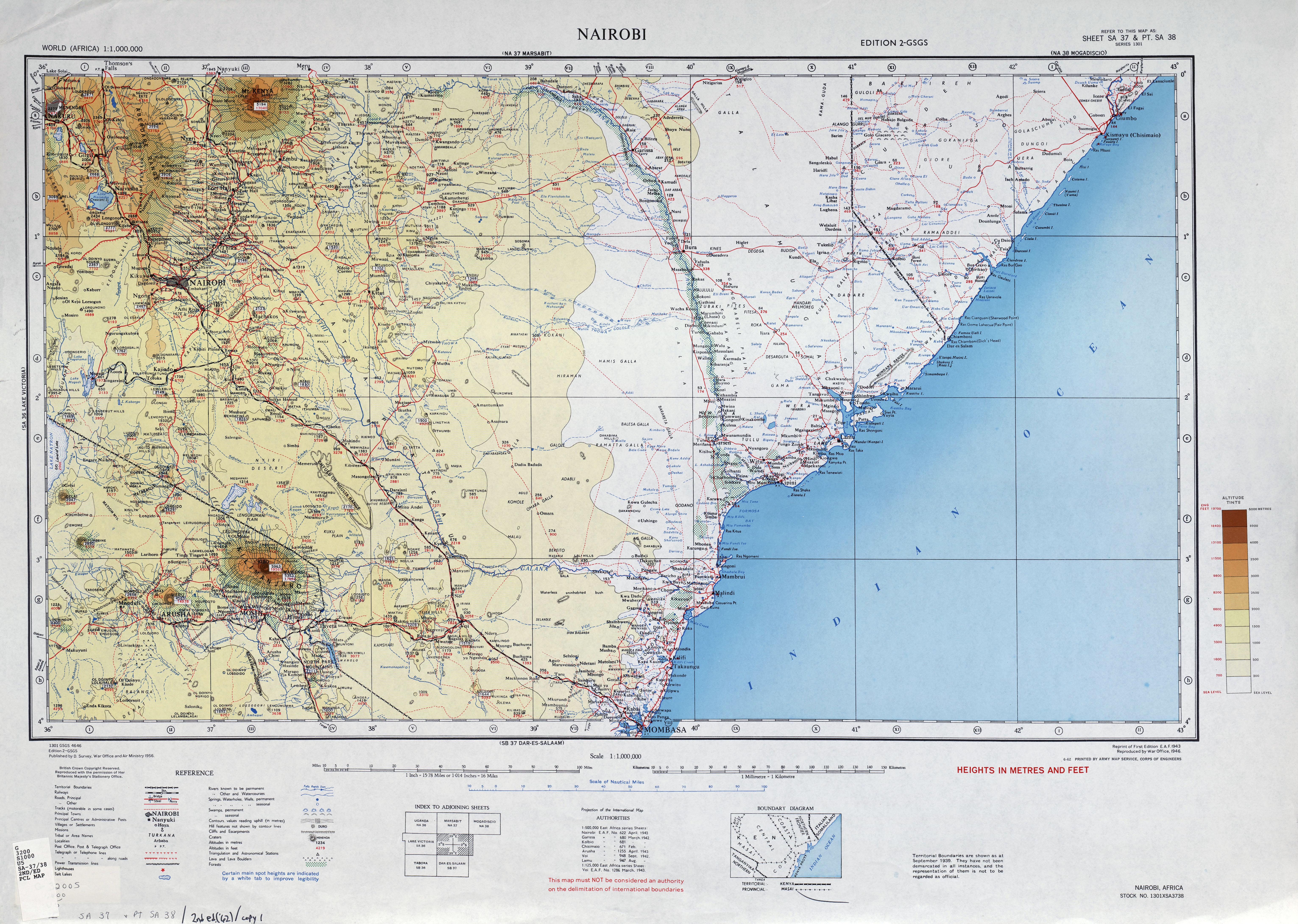 Kenya colony 1955 map of nairobi region gumiabroncs Choice Image