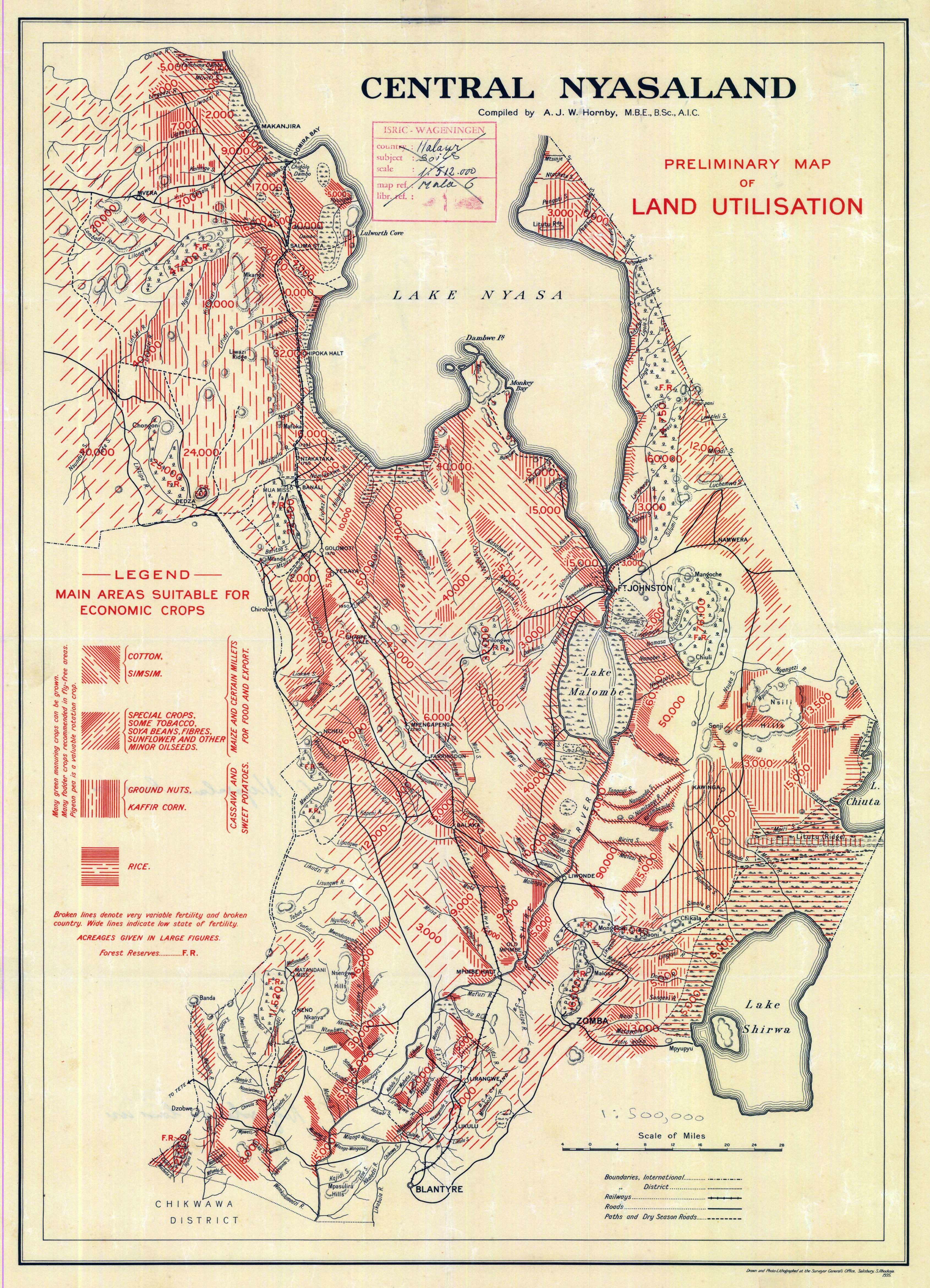 Map Of Africa 1960.Nyasaland Colony