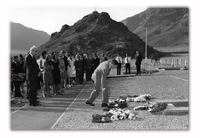 Silent Valley, Little Aden. Laying a wreath at the funeral of Ruth Wilkes