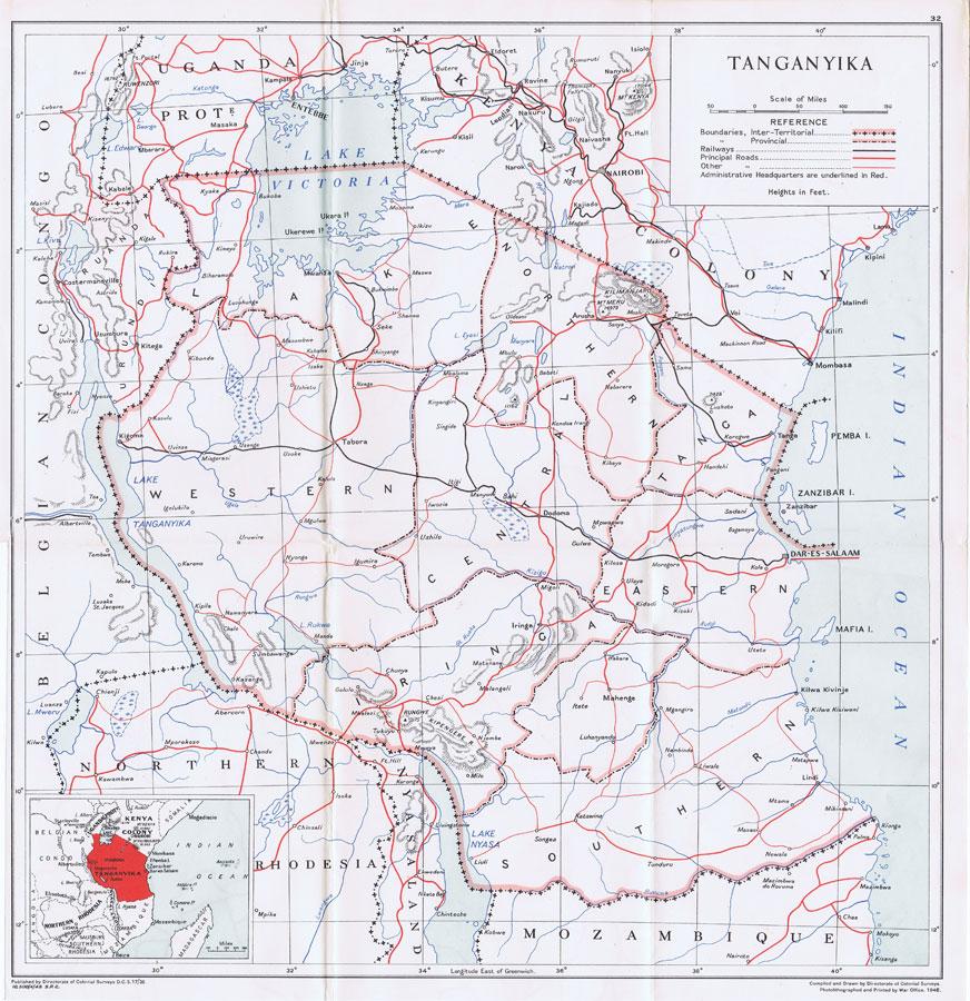 Map of Tanganyika, 1948
