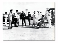 Khormaksar Airport, Aden. The CinC and Lady Prue Le Fanu say goodbye to Sir