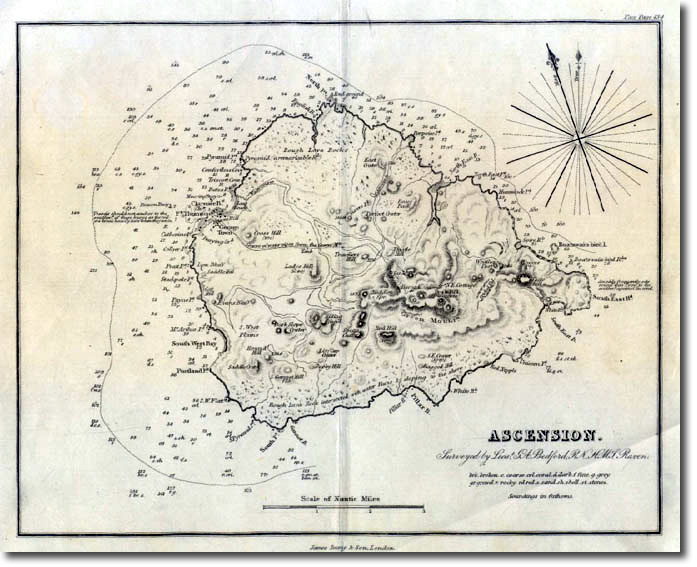 Atlantic Ocean Ascension 1855 Map