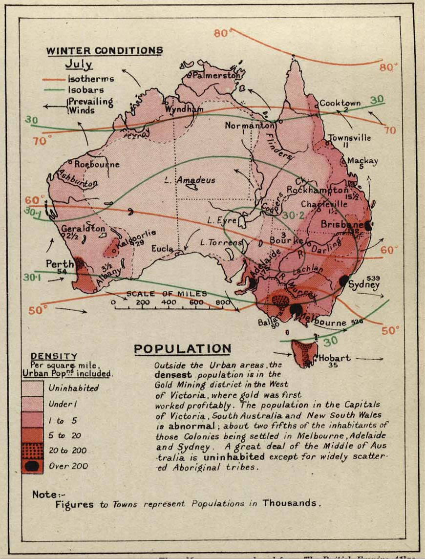 Map Of Australia 1901.Dominion Of Australia
