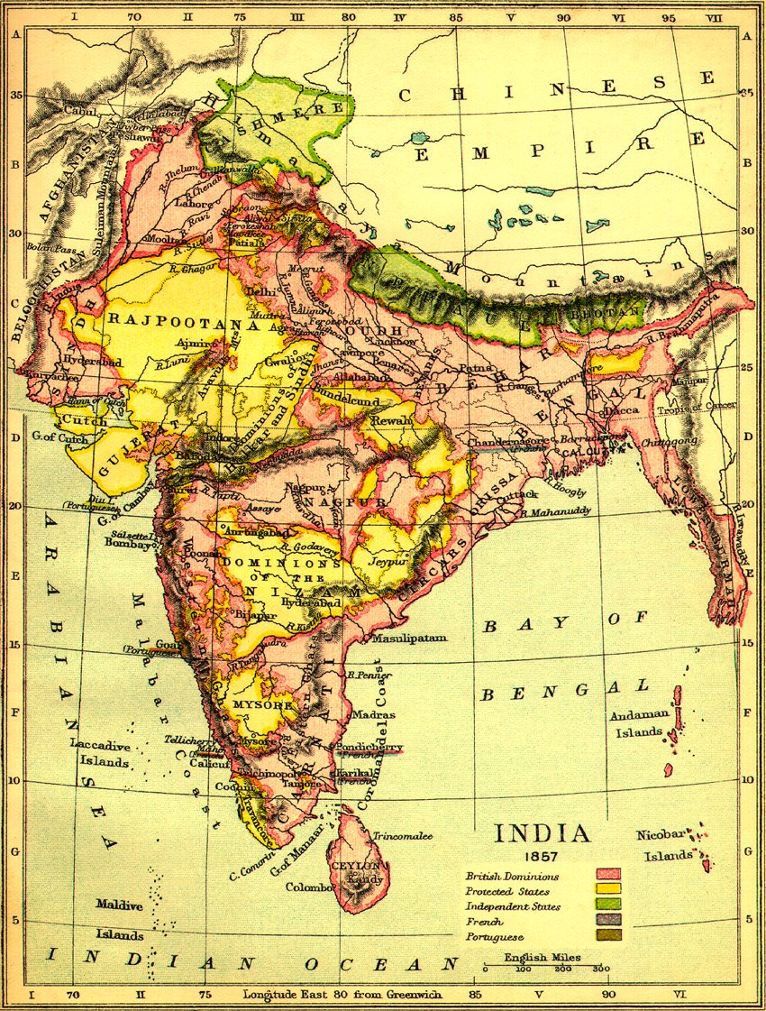 1857 map of india