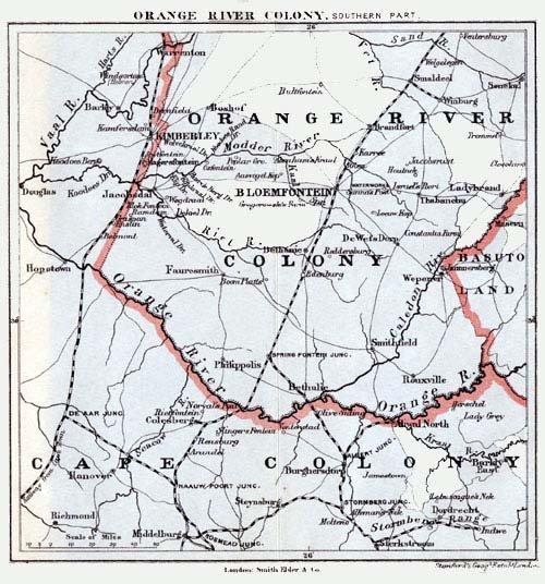 Orange River On Map Orange Free Sta...