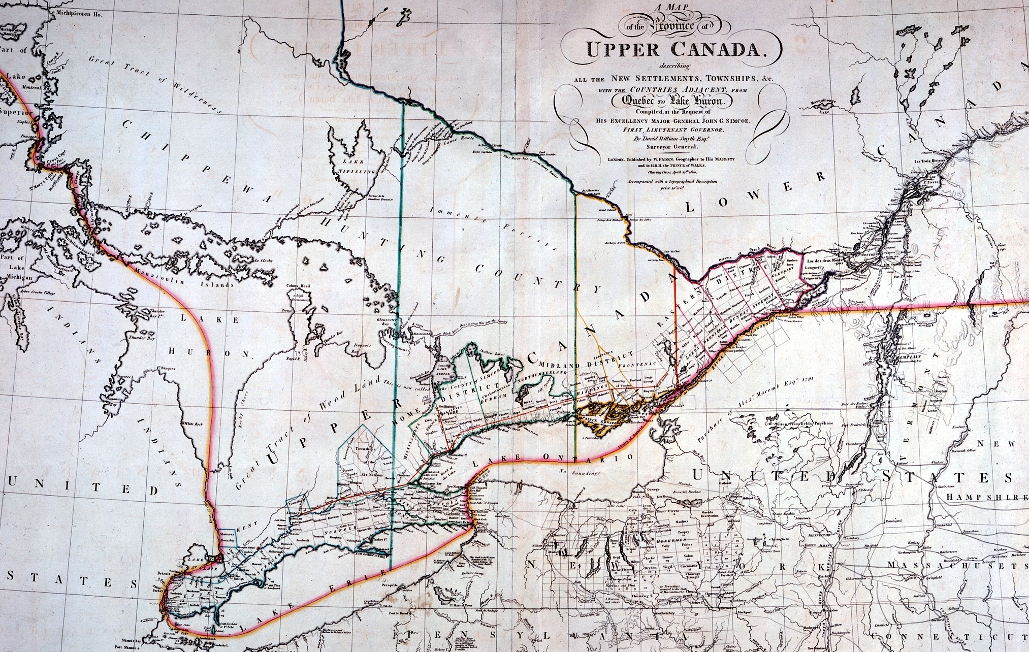 1800 map of Upper Canada (modern day Ontario) [2026x1284] [OS