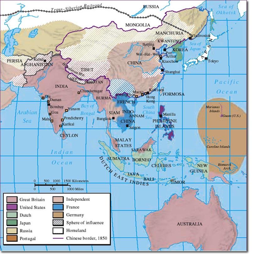 The British Empire In Asia - Map asia us uk australia