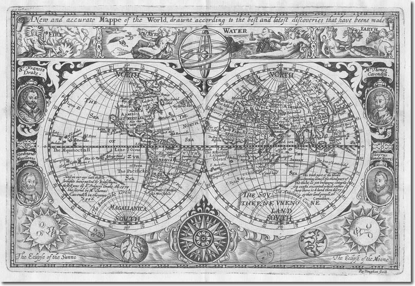 A New And Accurate Map Of The World 1628.The British Empire In The Pacific And Australasia